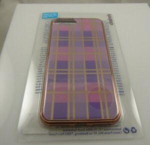 rose gold iPhone 6 plus, 7 & 8 + plus phone case plastic cover pink purple plaid