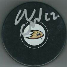 Autographed Adam Cracknell Anaheim Ducks Hockey Puck - w / Coa
