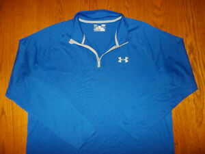 UNDER ARMOUR HEAT GEAR 1/4 ZIP LONG SLEEVE BLUE LOOSE FIT TOP MENS LARGE EXCELL.
