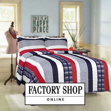 SUPER KING MODERN BLUE RED WHITE STRIPED CHECKED BOY TEENAGER QUILTED BEDSPREAD