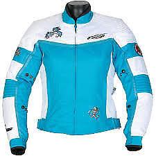 Spada LADIES Motorcycle Jacket Lara Waterproof Textile  - Aqua Blue/White