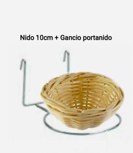Nido Canarini In Vimini 10cm Con Gancio Portanido universale accessori uccelli