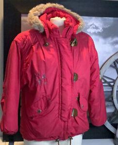 Obermeyer Ski Snowboard Jacket Junior Sz 14 Faux Fur Trim Hood Cranberry Color