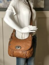 FOSSIL MADDOX British Tan Embossed Leather Flap Crossbody Messenger Shoulder Bag