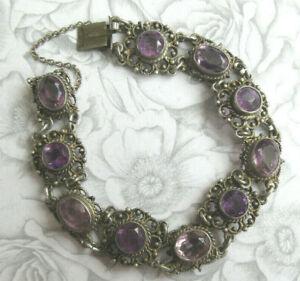Vintage Antique Silver & Amethyst Bracelet 800 Silver Ornate & Pretty Signed SH