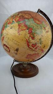 Vintage 1992 World Discoverer Scanglobe 12'' Globe Desk Lamp Wooden Base Rare
