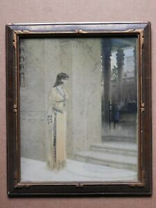 EGYPTIAN WOMAN PRINT BY W.L. TOSLOY 1915 IN WOOD FRAME, C.P. CO.