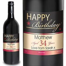 Personalised Happy Birthday Red Wine 75cl - Perfect Birthday Gift For Him/Her