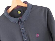 F295 PRETTY GREEN POLO SHIRT TOP GREY LONG-SLEEVE ORIGINAL PREMIUM size M