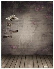 Wooden Flower Wall with Birdcage Vintage Photography Photo BACKDROP
