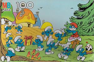 "Vintage Smurf Pappa Brainy Smurfette Peyo 100 piece 16"" x 11"" jigsaw puzzle"
