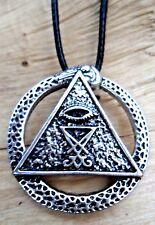 Illuminati Masonic Pyramid Eye of Horus Charm Pendant & Cord Choker Necklace NEW