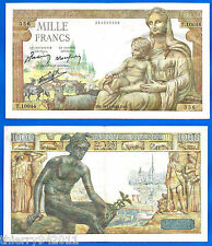 France 1000 Francs 1943 Demeter Serie T Great Bill Europe Frc Frcs Free Ship Wld