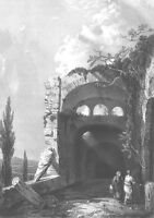 Italy, ARCHITECTURE HADRIAN VILLA TEMPLE RUINS ~ Old 1852 Art Print Engraving