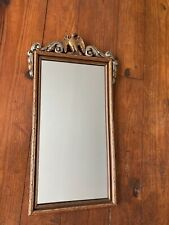 Antique Vintage Wooden Faux Bamboo Gold and Silver Decorated Mirror w/ an Eagle