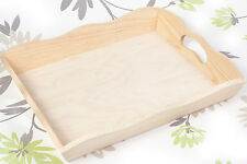 LARGE UNPAINTED WOODEN SERVING TRAY 6 x 30.5 x 37 cm / ART CRAFT DECOUPAGE