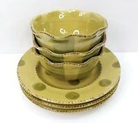 6 Pc Bella Ceramica Pastis Dinnerware Green Stripes Polka Dot Salad Plates Bowls