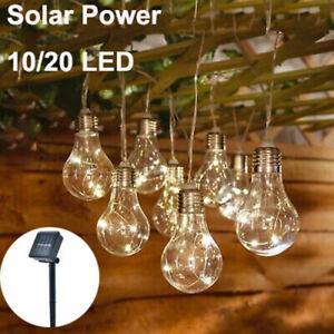 LED Solar Powered Retro Bulb String Lights Garden Outdoor Fairy Summer Lamps