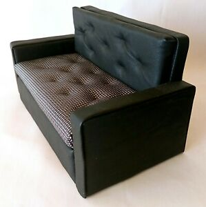 Miniature Dollhouse Sofa, Modern Black Leather Upholstered Furniture 1:6 scale