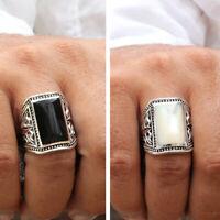 925 Sterling Silver Men Ring Black Onyx Stone White Shell Size 8 10 11 12 13 14