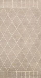 Trellis Contemporary Moroccan Oriental Area Rug Hand-knotted Kitchen Carpet 5x8