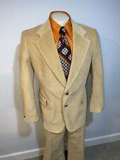 Vtg 60s 70s Tan 2 piece Corduroy Suit Mens 44 Jacket 37 30 Pants Bell Bottom Mod