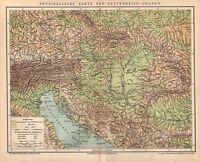 Physikalische Karte von Österreich-Ungarn  historische Landkarte 1885 Alpenbahn