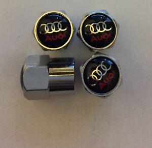 Audi Chrome Air Valve Dust Caps Car Wheel Tyre Caps 4 x pcs