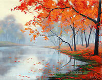 Lake Oil painting trees painting Canvas oil landscape Wall Art by Listed Artist