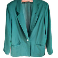 Silk Collection Women's Lined Single Breasted Blazer Jacket Green Size Small