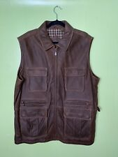 $450 Roundtree & Yorke XL Leather Vest Hunting Fishing Tactical