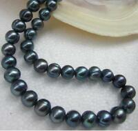"Natural 18"" AAA 11-10 MM SOUTH SEA BLACK PEARL NECKLACE 14K GOLD CLASP"