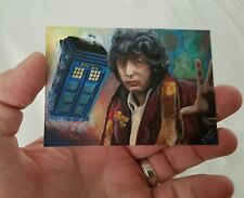 DR WHO TOM BAKER TARDIS MINI PAINTING SKETCH CARD PSC ACEO ORIGINAL ART ACRYLIC