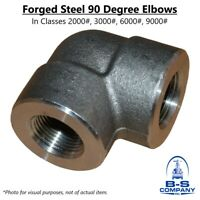 """90 Degree Elbow A105 Forged Steel Fitting 1"""" 2000 NPT Threaded (Lot of 4)"""