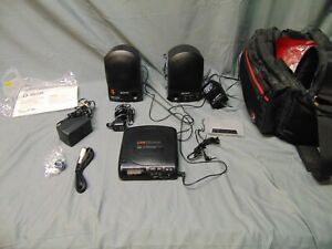 Vintage Sony Discman CD compact Player w Speakers car adapter bag D-180K SRS-A30