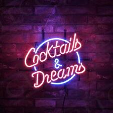 """Cocktails & Dreams"" Beer Bar Pub Bistro Neon Sign Light Room Wall Game Room"