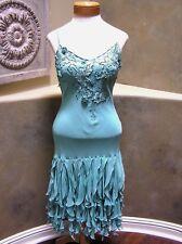 LOTUS SILK prom pageant formal occasion cocktail salsa ruffle Dress aqua blue 6