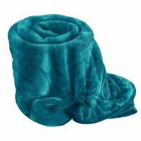 TEAL Soft Mink Faux Fur Throw Fleece Warm Sofa Bed Blanket Single Double King