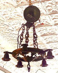 Antique 5 Arm Ceiling Light Fixture Hammered Brass Arts & Crafts CHANDELIER