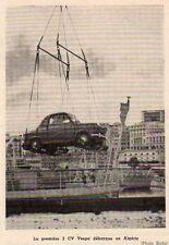 PREMIERE 2 CV VESPA DEBARQUE EN ALGERIE IMAGE 1956 OLD PRINT