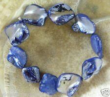 Modisches Perlmutt Muschel Armband Armkette Bracelet blau 18,5 -19 cm