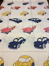White With Multi-Color Cars Fabric Shower Curtain New