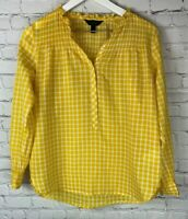 J. CREW Womens' Yellow White Long Sleeve Gingham Shirt Blouse Size 4