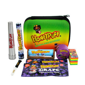 HONEYPUFF Rolling Papers Box 1 1/4 Grape Flavor Papers Roller Cones Tube Kit Set