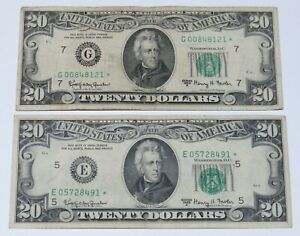 Lot of TWO 1963-A $20 Federal Reserve STAR Replacement Notes