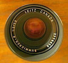 Leica SUMMICRON-R 50mm f/2 Lens w/caps, built-in hood, Leitz Canada, mint cond.