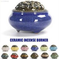 UK Ceramic Alloy Cover Incense Burner Censer Coil Stick Holder Decor Gift