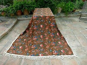 ANTIQUE GEORGIAN 18TH C. CHINZ BLOCK PRINTED FABRIC BED COVER INDIENNE  260 cm