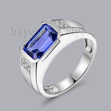Men's Ring 18K White Gold Diamond Enagement Wedding Emerald cut Tanzanite Ring