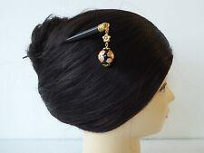 Japanese Kanzashi Hair Stick Tensha Beads w/ Ume Blossom Design Hair Ornament